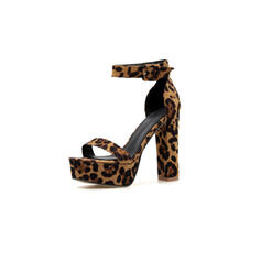 Women's Microfiber Leather Chunky Heel Pumps With Animal Print shoes