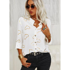 Print Heart Stand collar Long Sleeves Button Up Casual Blouses