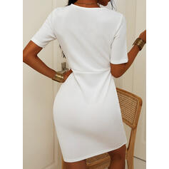 Solid Short Sleeves Bodycon Knee Length Casual Dresses