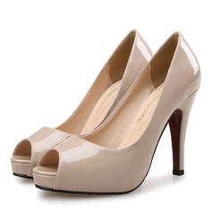 Women's Patent Leather Stiletto Heel Sandals Pumps Platform Peep Toe shoes