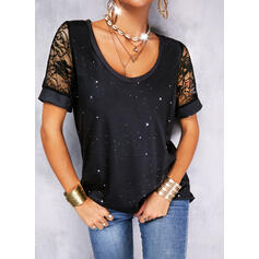 Print Lace Round Neck Short Sleeves Casual Blouses