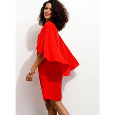 Solid 1/2 Sleeves Shift Knee Length Casual/Party/Elegant Dresses