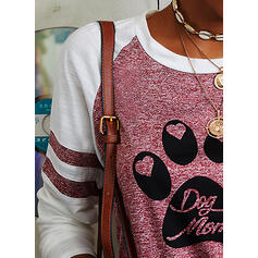 Color Block Animal Print Figure Heart Round Neck Long Sleeves Casual T-shirts