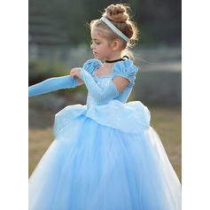 Girls Square Collar Solid Lace Cute Vintage Party Dress