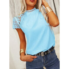 Solid Lace Round Neck Short Sleeves Elegant Blouses