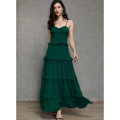 Solid Sleeveless A-line Party/Elegant Maxi Dresses