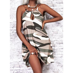 Print/Camouflage Sleeveless Shift Above Knee Casual Dresses