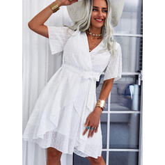 Solid Short Sleeves A-line Above Knee Casual/Vacation Wrap/Skater Dresses