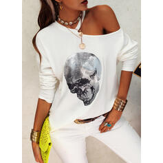 Sequins One-Shoulder Long Sleeves Casual Blouses