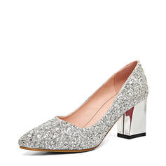 Sparkling Glitter Chunky Heel Closed Toe Pumps