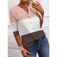 Color Block V-Neck 1/2 Sleeves Button Up Casual Blouses