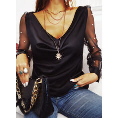 Solid Beaded V-Neck Long Sleeves Casual Blouses