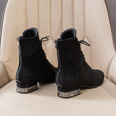 Women's Cloth Low Heel Chunky Heel Boots Ankle Boots Martin Boots High Top Pointed Toe With Lace-up Solid Color shoes