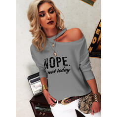 Print Letter One Shoulder Long Sleeves Casual Blouses