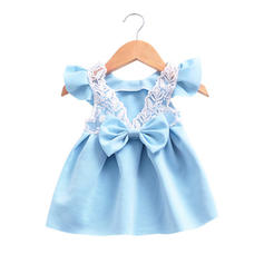 Girls Round Neck Lace Bow Cute Party Dress