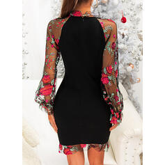 Print/Floral Long Sleeves Bodycon Above Knee Party/Elegant Dresses