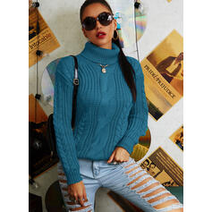Solid Cable-knit Turtleneck Casual Sweaters