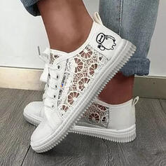 Women's PU Flat Heel Flats Low Top Espadrille With Stitching Lace Solid Color shoes