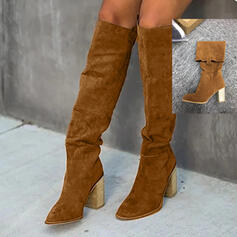 Women's PU Chunky Heel Knee High Boots Heels Pointed Toe With Ruched Solid Color shoes