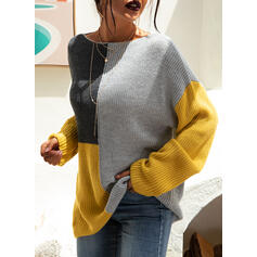 Color Block Ribbed Chunky knit Round Neck Casual Sweaters