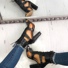 Women's PU Chunky Heel Pumps Peep Toe With Lace-up Hollow-out Crisscross shoes