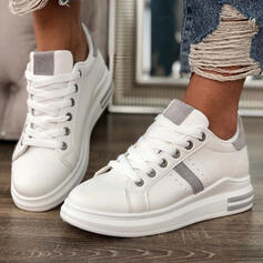 Women's PU Flat Heel Flats Sneakers With Lace-up shoes