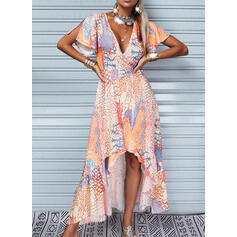 Print Short Sleeves A-line Asymmetrical Casual/Vacation Skater Dresses