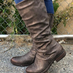 Women's PU Chunky Heel Boots Mid-Calf Boots Round Toe With Zipper Solid Color shoes