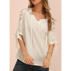 Solid V-Neck 1/2 Sleeves Casual Elegant Blouses