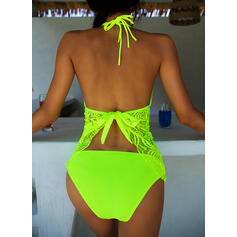 Solid Color Halter Sexy Plus Size Tankinis Swimsuits