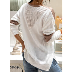 Color Block Round Neck Casual Sweaters