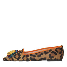 Women's Suede Chunky Heel Flats Round Toe With Animal Print shoes
