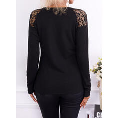Solid Lace Round Neck Long Sleeves T-shirts