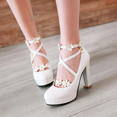 Women's Leatherette Stiletto Heel Pumps Platform Closed Toe Over The Knee Boots With Rhinestone Rivet Flower shoes