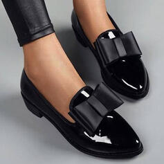 Women's PU Chunky Heel Flats With Bowknot Solid Color shoes