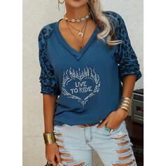 Sequins Leopard Figure Heart V-Neck Long Sleeves Casual T-shirts