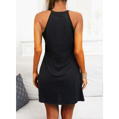 Lace/Solid Sleeveless Sheath Above Knee Little Black/Casual Dresses