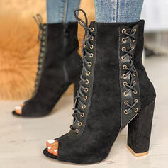 Women's Suede Chunky Heel Boots High Top Pointed Toe With Lace-up shoes