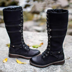 Women's PU Flat Heel Mid-Calf Boots Martin Boots Round Toe With Buckle Lace-up shoes