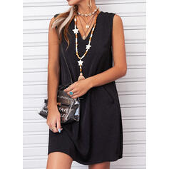 Solid Sleeveless Shift Above Knee Little Black/Casual Tank Dresses