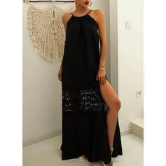 Lace/Solid Sleeveless A-line Casual/Vacation Maxi Dresses