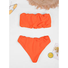 Solid Color Bandeau Strapless Sexy Elegant Bikinis Swimsuits
