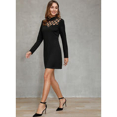 Solid Long Sleeves Sheath Above Knee Party Dresses