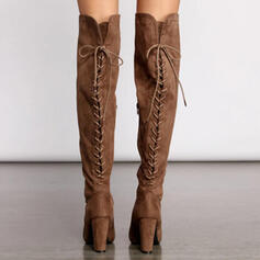 Women's Suede Chunky Heel Closed Toe Over The Knee Boots Round Toe With Zipper Lace-up shoes