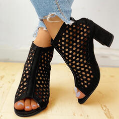 Women's Suede Chunky Heel Sandals Pumps Peep Toe Heels With Hollow-out shoes
