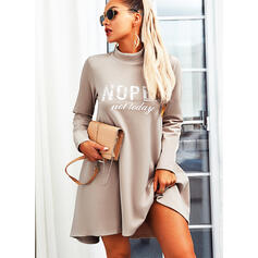 Print/Letter Long Sleeves Shift Above Knee Casual Tunic Dresses