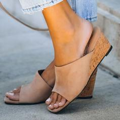 Women's Suede Wedge Heel Sandals Wedges Peep Toe Slippers With Solid Color shoes
