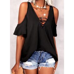 Solid Lace Lace-up Cold Shoulder Short Sleeves Casual Blouses