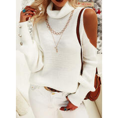 Solid Turtleneck Cold Shoulder Casual Sweaters
