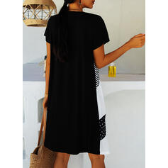 PolkaDot/Striped/Patchwork Short Sleeves Shift Knee Length Casual Dresses